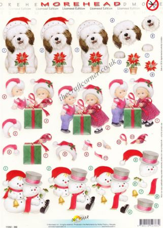 Morehead Christmas Dog with Poinsettia 3D Die Cut Decoupage Sheet